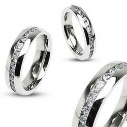 Oceľový prsteň so zirkónmi