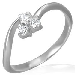 Oceľový zirkónový prsteň