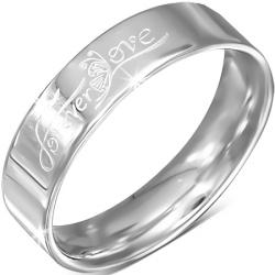 Oceľový prsteň forever love