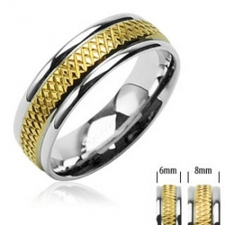 Oceľový prsteň zlatý stred